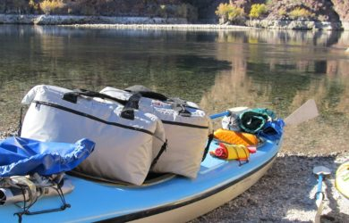 fishing cooler and kayak