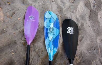 several types of the kayak paddles